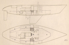 This drawing shows the interior general arrangement layout. <BR>1. This is the galley showing a two-element stove-and-double sink. <BR>2. Enclosed toilet compartment. <BR>3. Teak-wood bench seats enabling the crew to get ready in there special waterproof clothing before going on deck. <BR>3A. Main steps leading to on-deck. <BR>4. Eight bunks which are made very light-weight from aluminum tube and canvas stretch to support the mattress. <BR>5. Chart table area. This is where the navigator controls the yacht's position during racing. <BR>6. Completely open area forward of the mast where the sails are kept. <BR>7. This shows the special arrangement for the propeller and the propeller shaft. The intention is to minimize the hydrodynamic resistance by hiding the propeller behind the yachts keel.