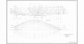 Kiwi 24 hull lines plan. The principal difference for my Quarter Ton Cup design was the wide beam on deck compared to the beam at the waterline. The intention was to ensure the weight of the crew was resisting the healing angle of the wind sailing to Windward. This drawing shows typical details of my early designs before we started using computer aided design (CAD) in 1979.