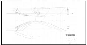 Hull lines plan modification for production Kiwi 24 version. My intentions modifying the original design was to improve the yacht's off-the-wind performance by increasing the beam on deck at the transom.