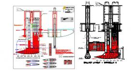 This drawing shows the overall details for the ballast layout (lead ballast location shown in red). It also shows when the keel is in its raised location, the top of the keel is visible above the cabin top.