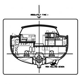 This drawing shows a section through the upper saloon and engine room. This arrangement proves successful and several Ron Holland designs have been built using this arrangement