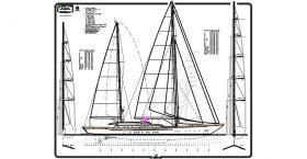 This drawing shows the sail and rigging plan. At the time she was launched, Felicita West was the largest aluminum sailing yacht ever built.