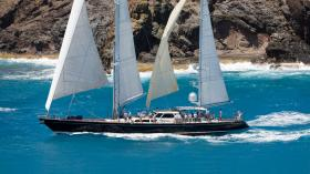 Avalon under full sail racing off Saint Barth's in the Caribbean